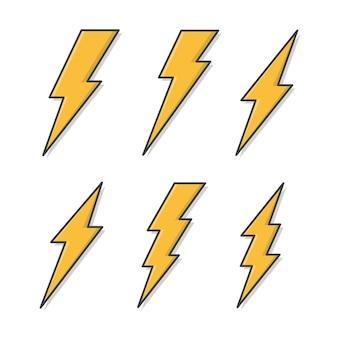 Set di fulmini icona illustrazione. icona piana di fulmine