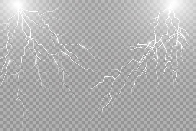 Una serie di effetti di luce brillante fulmini