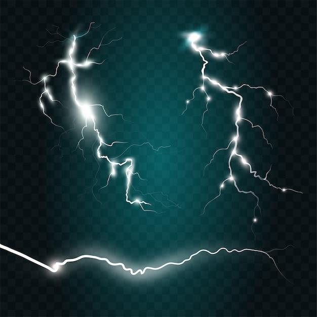 Set di effetti di fulmini su sfondo blu. magia del temporale e fulmini luminosi. illustrazione realistica