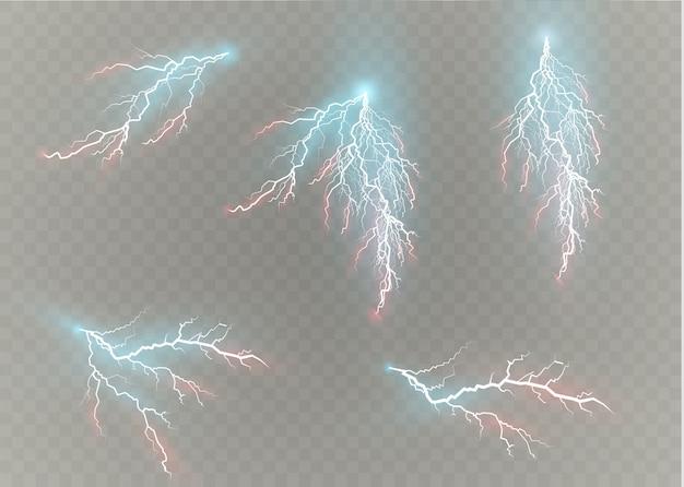Una serie di fulmini magia ed effetti di luce intensa. illustrazione. scarica corrente elettrica. carica corrente. fenomeni naturali. illustrazione di effetto energetico. bagliori e scintille di luce intensa