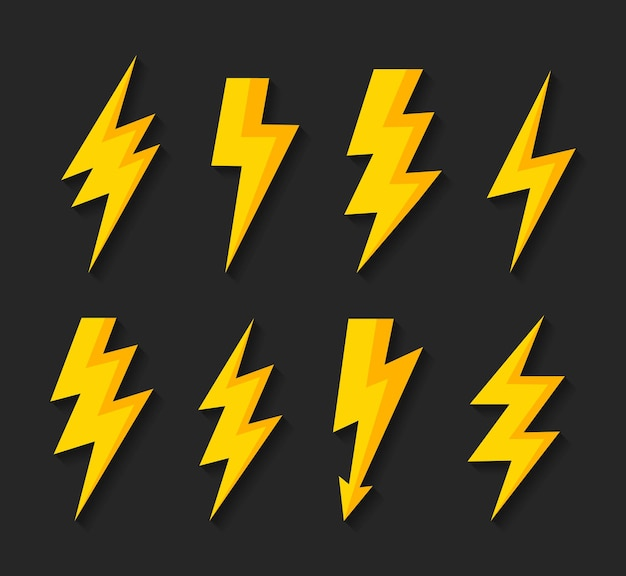 Imposta l'icona del vettore del fulmine del fulmine segno elettrico simbolo del fulmine