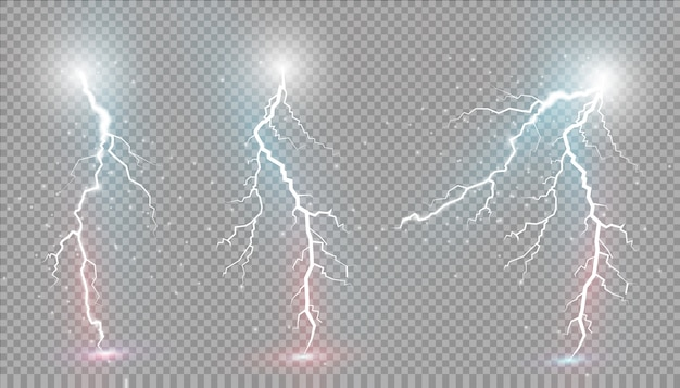 Set di lampi. effetti di luce magici e luminosi.