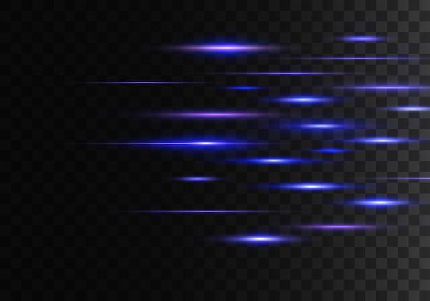 Set di luci bagliori. pacchetto riflettori lenti orizzontali. raggi laser, raggi luminosi orizzontali, linee.