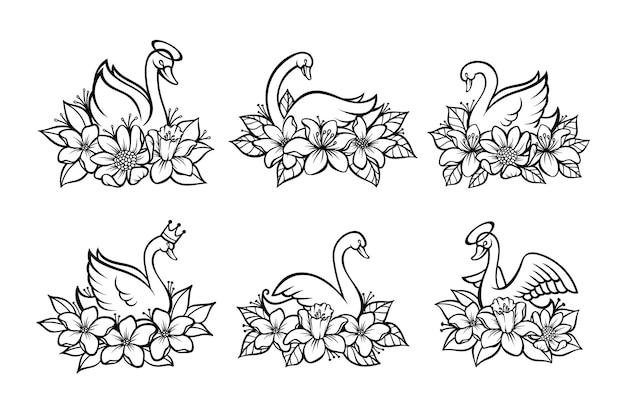 Set di cigno bellissimo line art con posto per il nome del bambino per la stampa