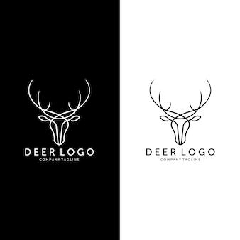 Set di line art deer hunt logo vector illustration design vintage