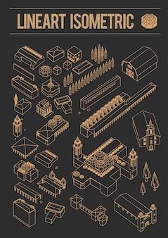 Set di edificio isometrico line art europa