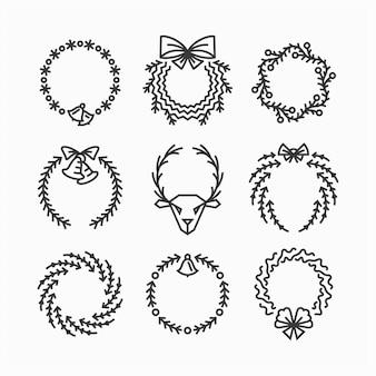 Set di corone di natale di linea