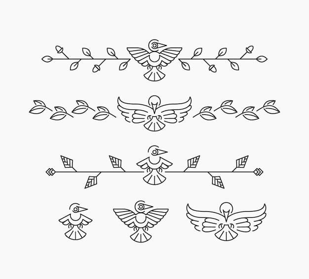 Insieme di elementi di design lineare con uccelli, uccelli isolati e divisori