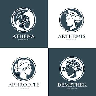 Set di modelli di logo della dea piatta lineare