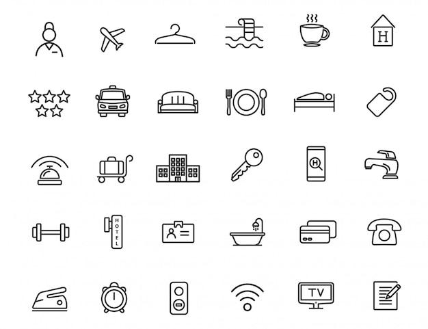 Set di icone lineari dell'hotel. icone di viaggio dal design semplice
