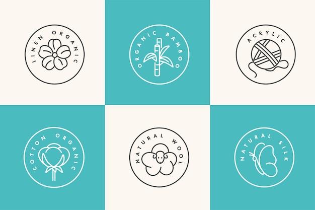 Set di icone lineari e distintivi per tessuto naturale. produzione biologica ed ecologica. simbolo dell'accumulazione della produzione naturale certificata di vestiti.