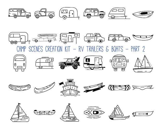 Set di icone lineari di rimorchi camper. parte 2