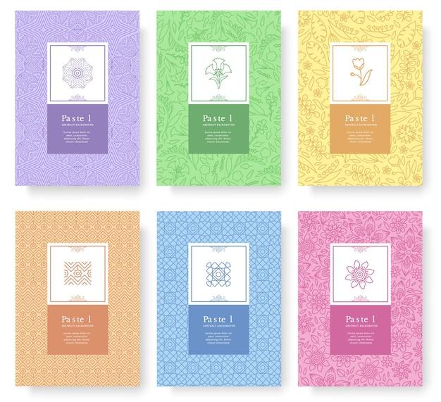 Set di concetto di stile pastello lineare. elemento di contorno su libro, layout astratto, riviste, brochure.