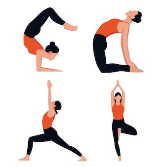 Set di pose lineari di sagome bianche di ragazze che fanno yoga su uno sfondo colorato. illustrazione di riserva. concetti di progettazione di siti web, icone per compiti in quarantena. snellezza, salute, sport.