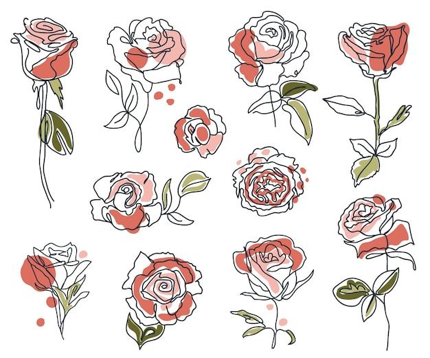 Set di rose lineari e foglie contorno minimal silhouette decorativo elegante
