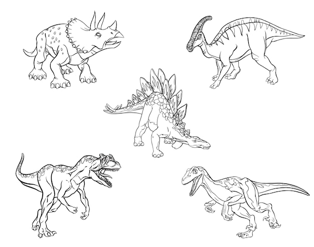 Serie di schizzi lineari di dinosauri per pagine da colorare