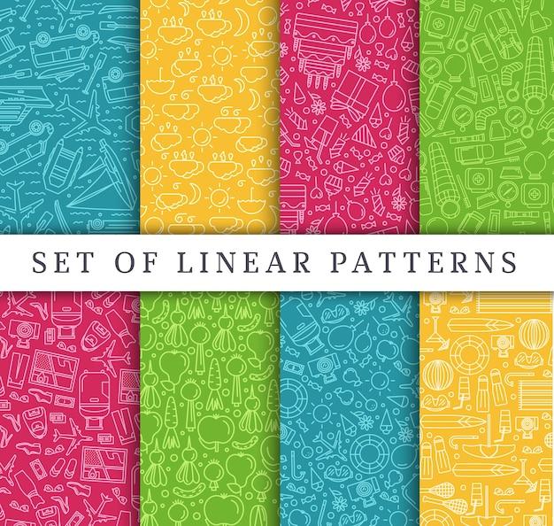 Set di concetto di stile di viaggio lineare