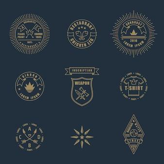 Set di elementi di design vintage lineare francobolli e loghi