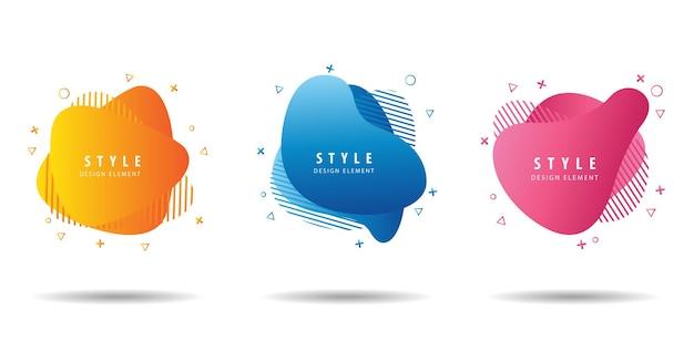 Set di forme astratte colorate liquide design fluido
