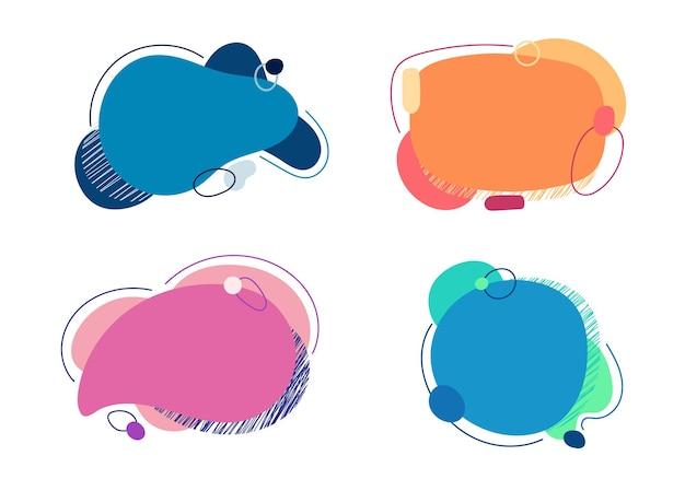 Set di forma blob liquido o fluido con elementi geometrici e linee isolati su sfondo bianco. illustrazione vettoriale