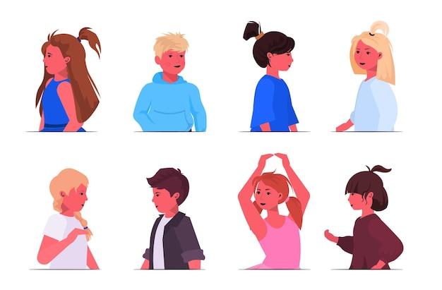 Impostare piccoli ragazzi ragazze avatar carino bambini ritratti collezione infanzia concetto femmina maschio personaggi dei cartoni animati illustrazione vettoriale orizzontale