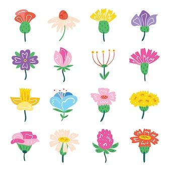 Set di piccoli fiori di campo carini. elementi di design flora. illustrazione piatto colorato