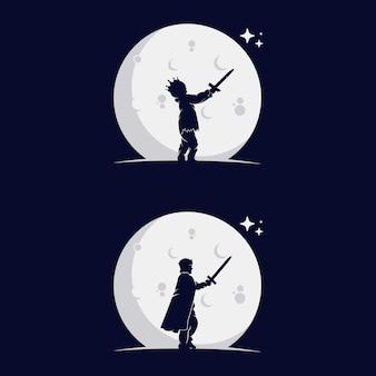 Set di bambini piccoli silhouette con la luna