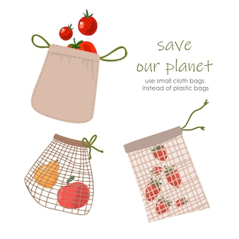 Set di piccola borsa eco riutilizzabile della drogheria isolata dal fondo bianco. zero waste (dire no alla plastica) e concetto di cibo.