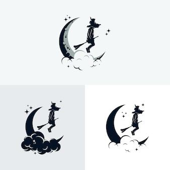 Set di logo piccola strega Vettore Premium