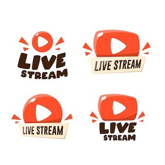 Set di icone di streaming live e trasmissione video.