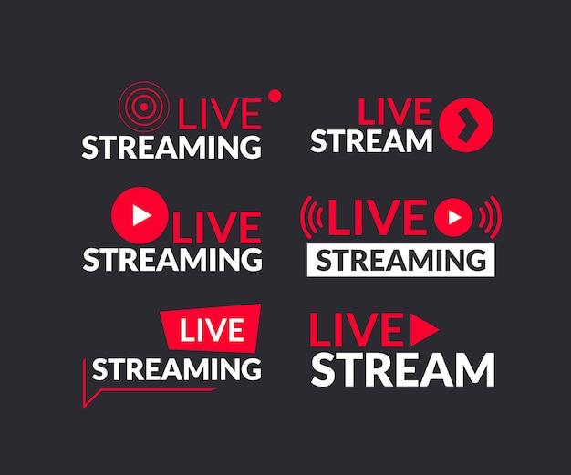 Set di icone di live streaming e webinar dal vivo Vettore Premium