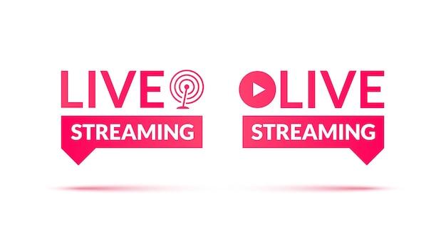 Set di icone di live streaming e webinar dal vivo