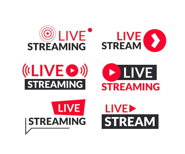 Set di segni e logotipi di live streaming e webinar live