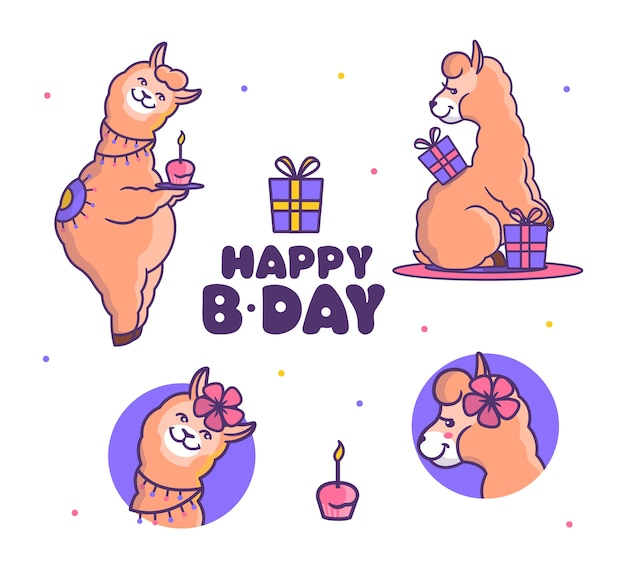 Set di alpaca lama è alla festa di compleanno. animali da cartone animato con scatole di regali e cupcakes dolci.