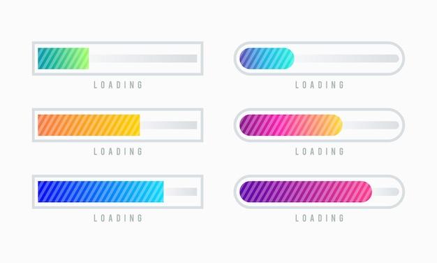 Set di illustrazione vettoriale barra di caricamento. visualizzazione dei progressi. caricamento della raccolta dello stato. elementi di web design, caricamento del modello di vettore di infografica