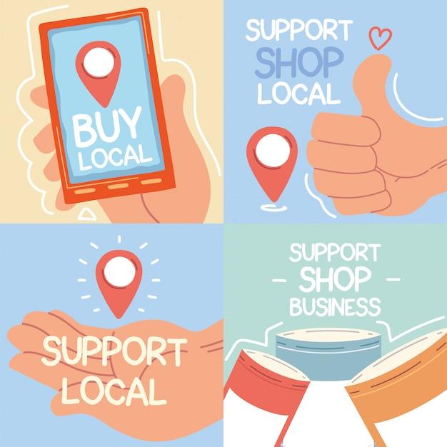 Set di campagne di negozi locali, supporta le attività commerciali locali