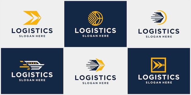 Set di loghi logistici di spedizione merci loghi logistici aziendali icone freccia icone di spedizione