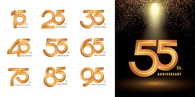 Set di logotipo logo anniversary, celebrate anniversary logo rilievo per congratulazioni