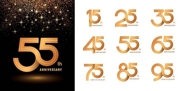 Set di design del logotipo dell'anniversario del logo, numero del logo dell'anniversario per congratulazioni