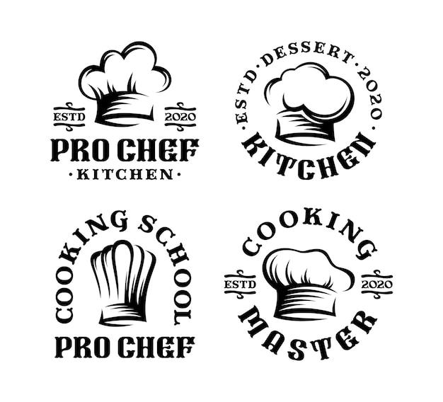 Set di chef di cappello distintivo logo nel design vintage