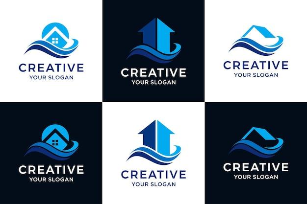 Imposta il logo del modello di progettazione del logo della casa costiera