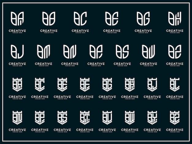 Imposta la collezione di logo b ed ecc. modello di progettazione del logo del monogramma