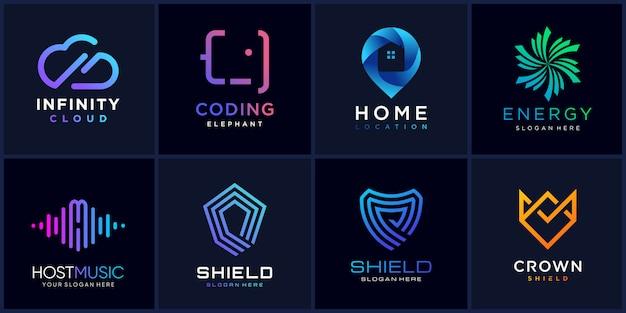 Set di raccolta logo con concetto moderno parte 1, moderno, pulito, icona, azienda, modello di logo