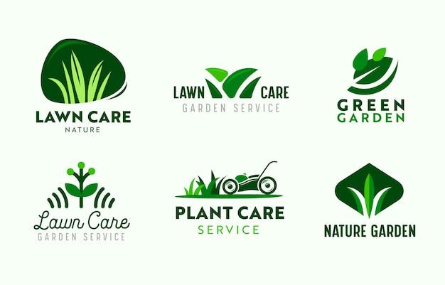 Set di servizi di cura del giardino e del prato con logo