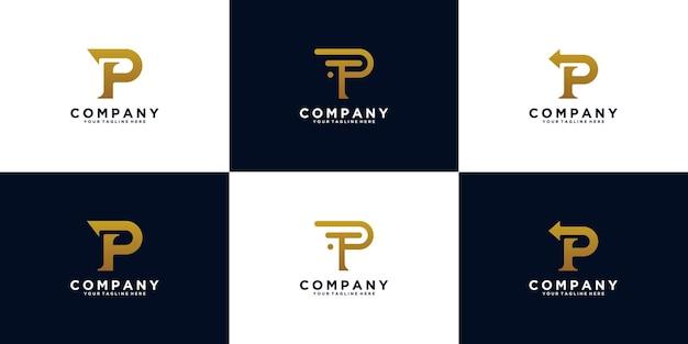 Set di iniziali del logo monogramma lettera p