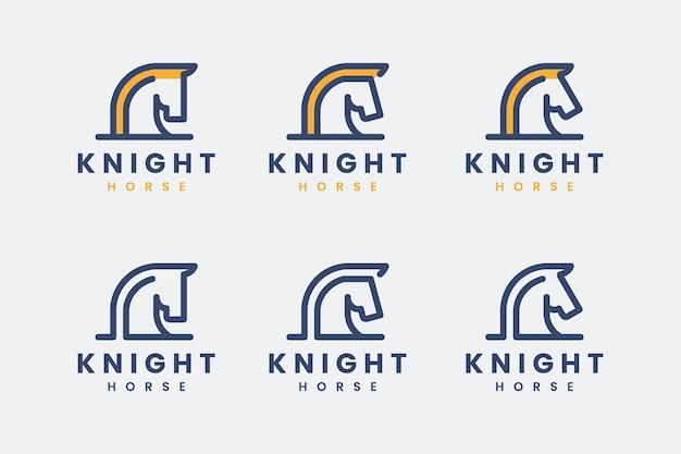 Impostare il cavallo del cavaliere del logo con il logo del concetto di arte linea d