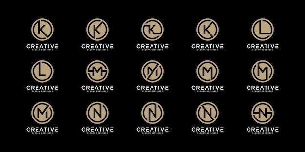 Set di lettere del logo k, l, m e n con stile cerchio. modello