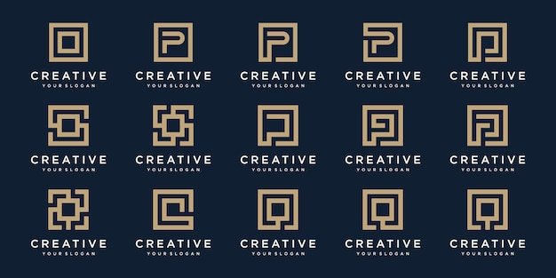 Set di lettere logo p e q con stile quadrato. modello