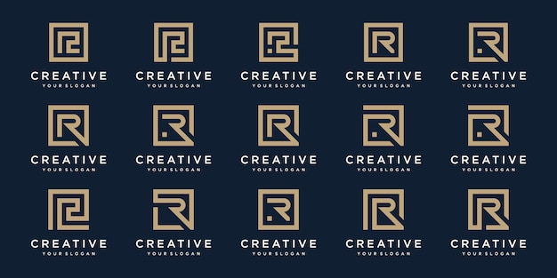 Set di lettere logo r con stile quadrato. modello
