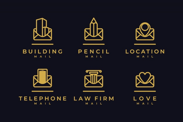 Imposta la posta del logo con l'ispirazione per il design del logo line art
